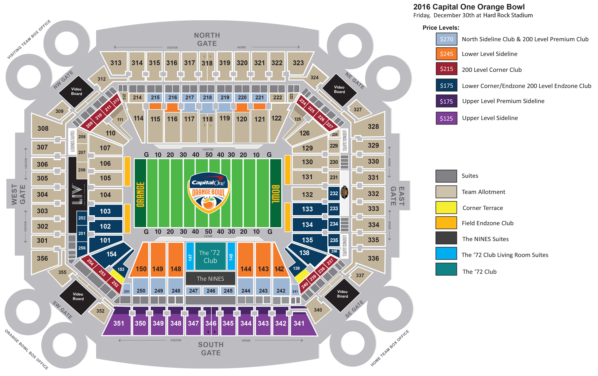 seating chart & pricing - gameday central | orange bowl