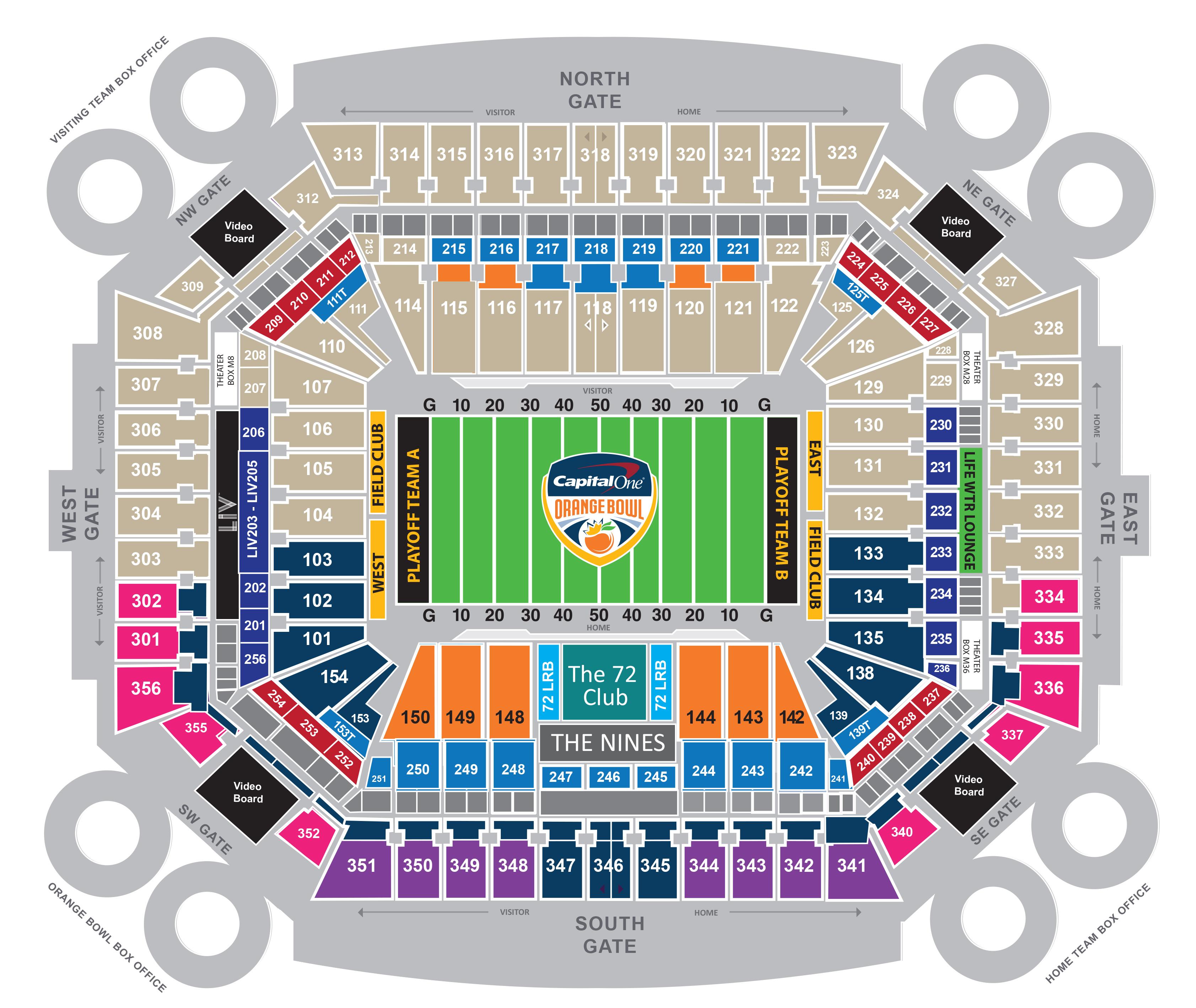 seating map - the game | orange bowl
